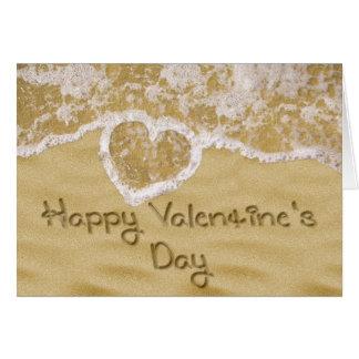 """Happy Valentine's"" written in sand Greeting Card"