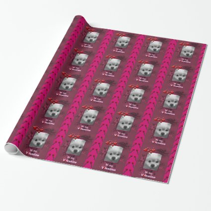Happy Valentines Your Photo or Cute Pomeranian Gift Wrap