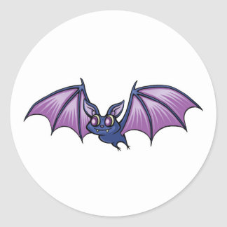 happy vampire bat round stickers