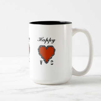 Happy VD Red Heart Surrounded in Black Lace Two-Tone Coffee Mug