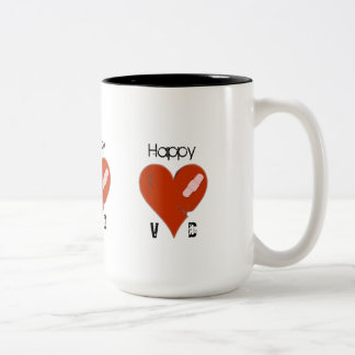 Happy VD Wounded Tattered Torn & Cracked Heart Two-Tone Coffee Mug