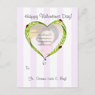 Happy V'Day Ladybug Heart postcard postcard