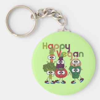 Happy Vegan Basic Round Button Keychain