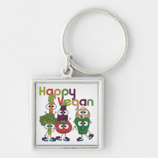 Happy Vegan Silver-Colored Square Keychain