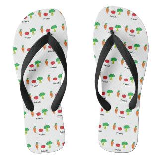 Happy Vegetable Friends Flip Flops