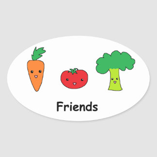 Happy Vegetable Friends Oval Sticker