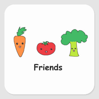 Happy Vegetable Friends Square Sticker