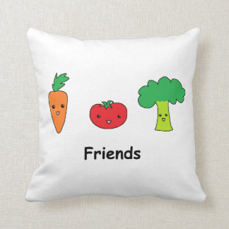 Happy Vegetable Friends Throw Pillow
