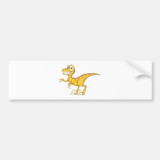 Happy Velociraptor Dinosaur Bumper Sticker