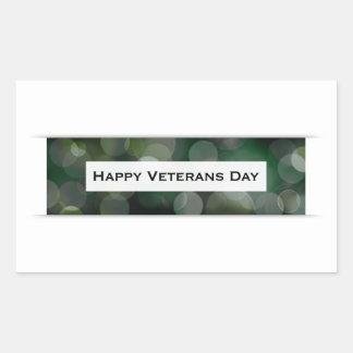 Happy Veterans Day (bokeh) Rectangular Sticker