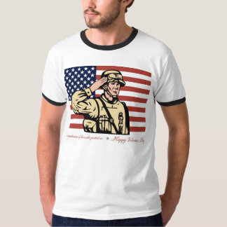 Happy Veterans Day Greeting Card Soldier Salute.jp T-shirt