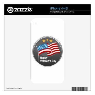 Happy Veterans Day Icon iPhone 4 Decal