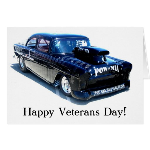 Happy Veterans Day POW Classic Black car card
