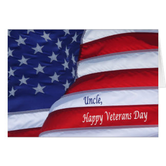 Happy Veterans Day Uncle with flag greeting card