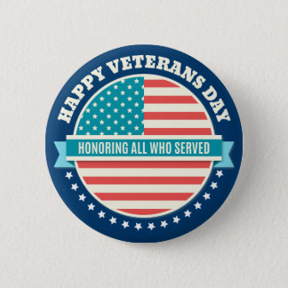 Happy Veterans Day USA flag dark blue background Button