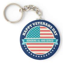 Happy Veterans Day USA flag dark blue background Keychain