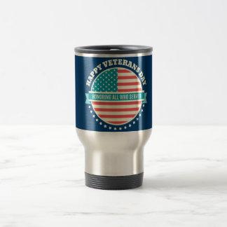 Happy Veterans Day USA flag dark blue background Travel Mug