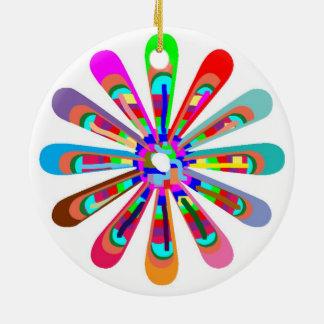 HAPPY Vibes :  Graphic Flower CHAKRA Art Christmas Ornaments
