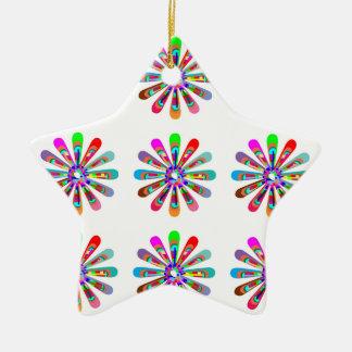 HAPPY Vibes :  Graphic Flower CHAKRA Art Christmas Tree Ornaments