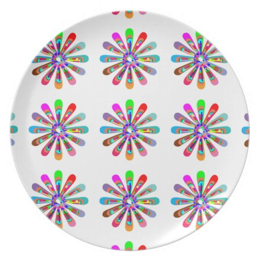 HAPPY Vibes :  Graphic Flower CHAKRA Art Party Plates