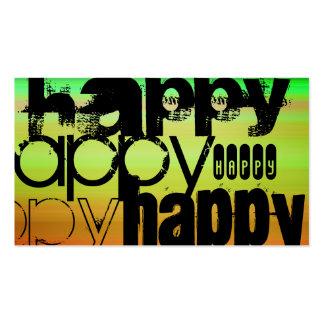 Happy; Vibrant Green, Orange, & Yellow Business Card