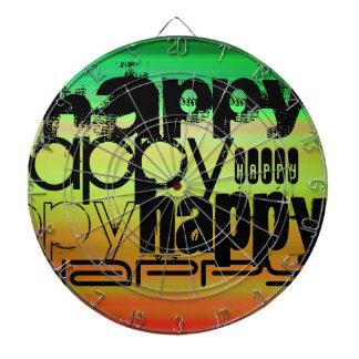 Happy; Vibrant Green, Orange, & Yellow Dartboard With Darts