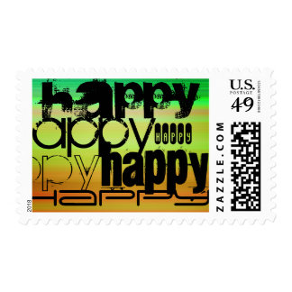 Happy; Vibrant Green, Orange, & Yellow Postage