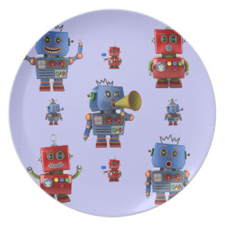 Happy vintage robot party plate