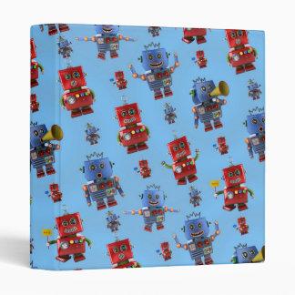 Happy vintage robot pattern binders