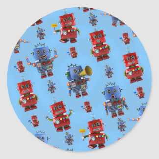 Happy vintage robot pattern classic round sticker