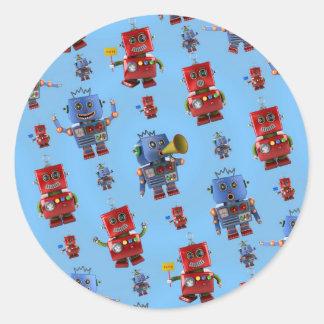 Happy vintage robot pattern classic round sticker