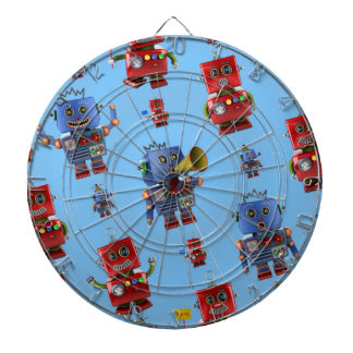 Happy vintage robot pattern dart boards