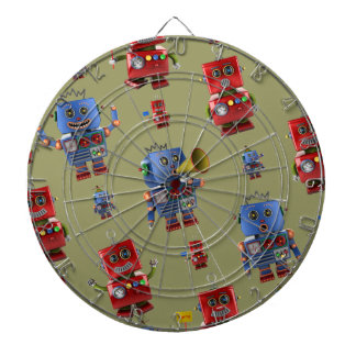 Happy vintage robot pattern dartboard with darts