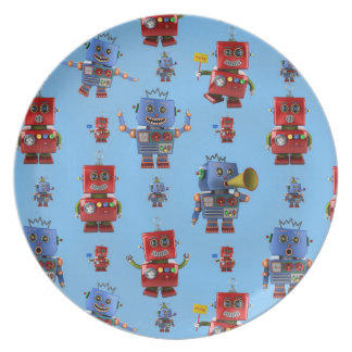 Happy vintage robot pattern dinner plates