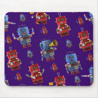 Happy vintage robot pattern mouse pad