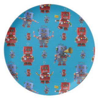 Happy vintage robot pattern party plates