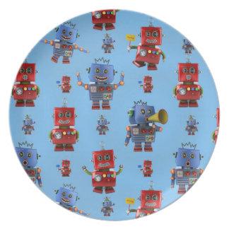 Happy vintage robot pattern plates