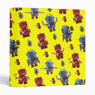 Happy vintage robot pattern vinyl binders