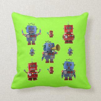 Happy vintage robot throw pillows