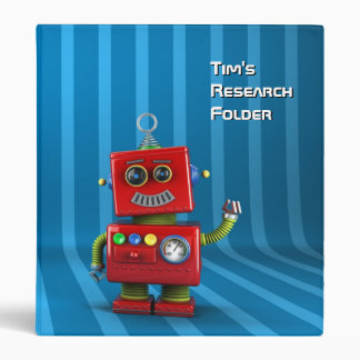 Happy vintage robot waving binder