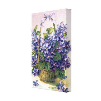 Happy Vintage Violets Basket Wrapped Canvas