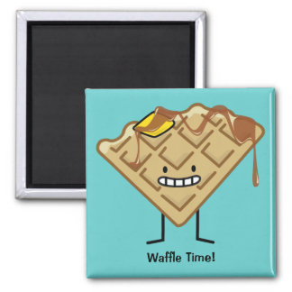 Happy Waffle 2 Inch Square Magnet