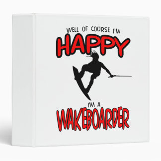 HAPPY WAKEBOARDER (black) 3 Ring Binder