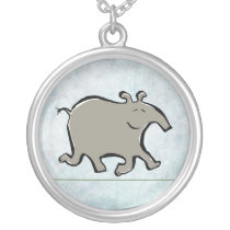 happy walking tapir silver plated necklace