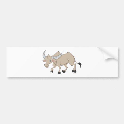 Happy Water Buffalo Cartoon Car Bumper Sticker