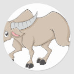 Happy Water Buffalo Cartoon Round Sticker