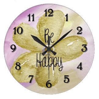 Happy Watercolor Flower Wall Clocks