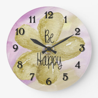 Happy Watercolor Flower Large Clock