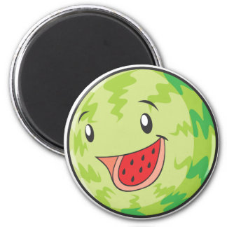 Happy Watermelon Fruit Smiling 2 Inch Round Magnet