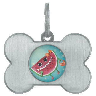 Happy Watermelon Lady Pet Name Tags